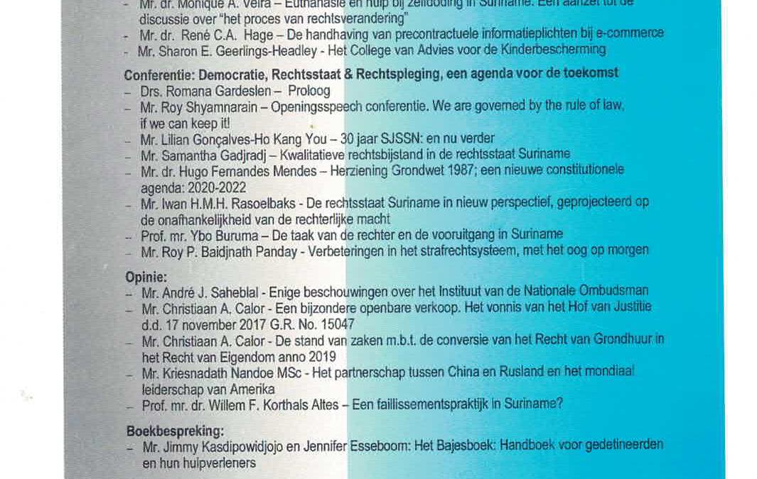 In eerste editie SJB 2020, aandacht voor conferentie 30 jarig jubileum SJSSN